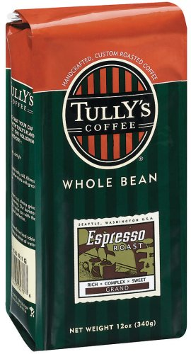 Buy Tully's Coffee Espresso Blend, Whole Bean, 12-Ounce Bag (Pack of 3) (Tully's Coffee, Health & Personal Care, Products, Food & Snacks, Beverages, Coffee)