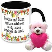 Mug For Sister - HomeSoGood Brother And Sister Always Together White Ceramic Coffee Mug With Teddy - 325 Ml
