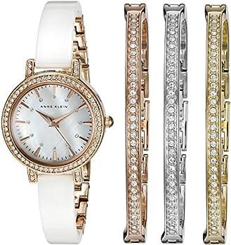 Anne Klein Crystal Rose Gold-Tone & White Women's Watch