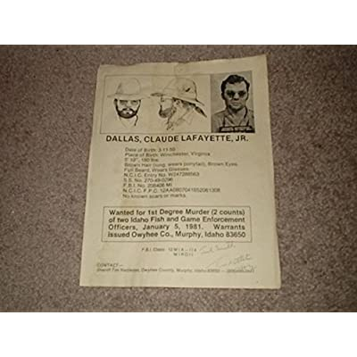 CLAUDE LAFAYETTE DALLAS Signed MOST WANTED POSTER Sheriff Tim