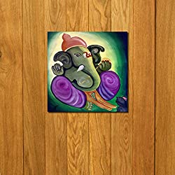 999Store doorhanging ganesha multicolour art printed wooden framed door sticker (4 x 4 inches)