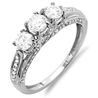 1.00 Carat (ctw) 14k White Gold Round Diamond Ladies Bridal 3 Stone Engagement Ring 1 CT