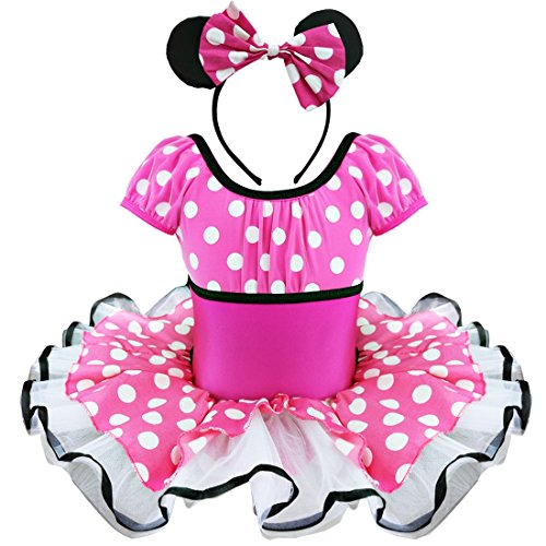 [FEESHOW Girls' Minnie Mouse Fancy Party Costume Leotard Tutu Dress with Headband (2T, Hot Pink)] (Halloween Costumes With Pink Hair)