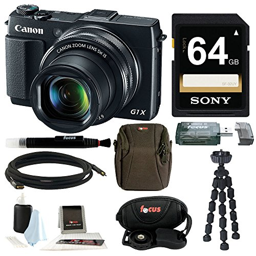 Canon PowerShot G1 X Mark II Digital Camera + 64GB Memory Card + Short Zoom Soft Shell Camera Case + Deluxe Accessory Kit (Canon G1x Ii compare prices)