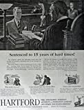 Hartford Insurance, 40's Print ad. Full Page B&W Illustration (sentenced to 15 years of hard times!) Original Vintage 1947 Collier's Magazine Print Art