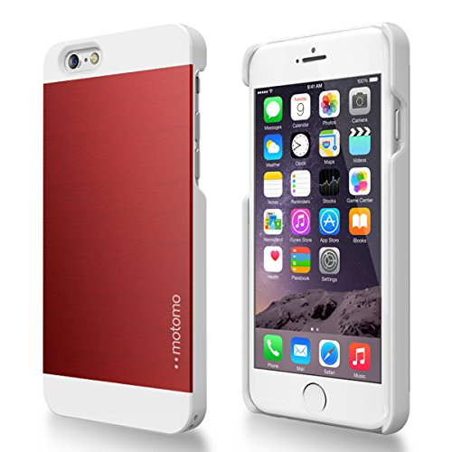 Iphone 6 Case, Motomo [Red] [Ino Metal Al2] Iphone 6 (4.7 Inch) Case Aluminum [Brushed Aluminum] [Straight Edges] Metal Cover Protective Case For Phone 6 (4.7 Inch) - Retail Packaging - Wine Red/White (116Pcimal2-Rw)