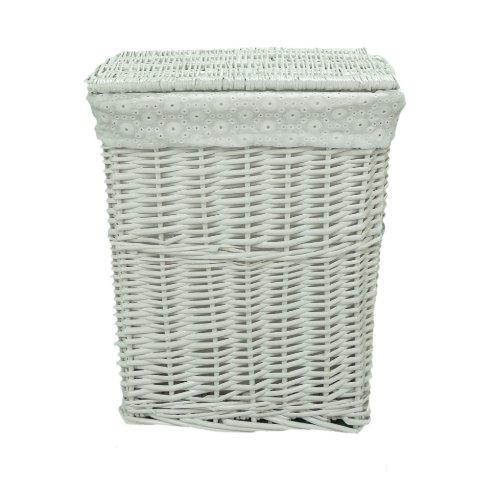 Lidded White Wicker Linen Laundry Bin Storage Basket w/ Pure White Cotton Liner
