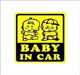 Amazon.co.jpBABY IN CAR 赤ちゃん2人 黄 カッティングステッカー ウォールステッカー ステッカー