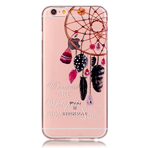 IKASEFU Pretty Feather Dreamcatcher Slim Thin Soft Crystal Clear Transparent Tpu Rubber Protective Case Cover for iPhone 6 Plus/6S Plus 5.5