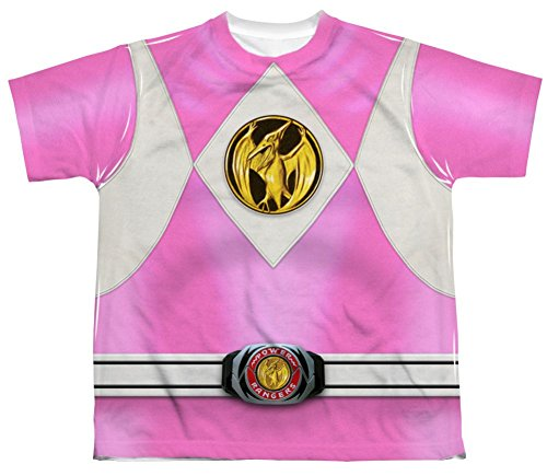 Mighty Morphin Power Rangers Pink Ranger Emblem Costume - All Over Youth Front T-Shirt