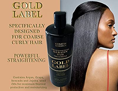 Gold Label Professional Keratin Treatment Super Enhanced Formula Specifically Designed for Coarse Curly Black, african, Dominican and Brazilian Hair types 240ml