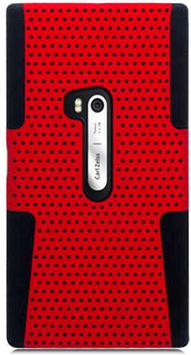 Mylife (Tm) Bright Red And Panther Black Perforated Mesh Series (2 Layer Neo Hybrid) Slim Armor Case For The Nokia Lumia 920, 920.2, 920T And 920 4G Camera Smartphone By Microsoft (External Rubberized Hard Shell Mesh Piece + Internal Soft Silicone Flexibl