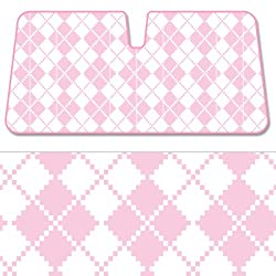 See BDK Sunshade Pink Checkers Digital Collage - Folding Accordion Sun Shade - 58