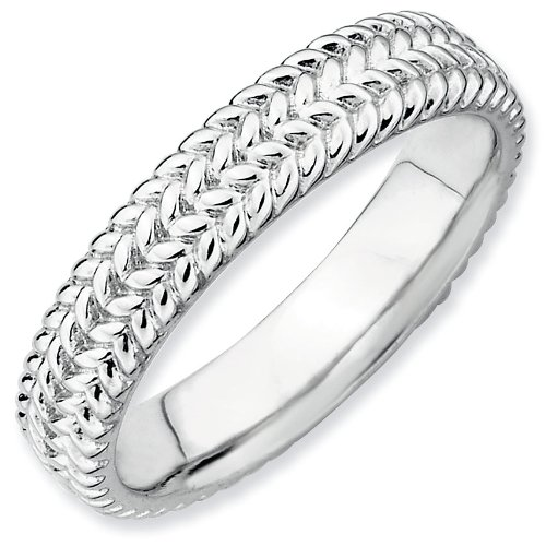Sterling Silver Stackable Expressions Rhodium Ring - Size 8 - JewelryWeb
