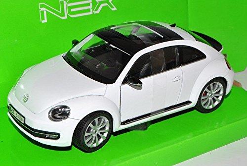 VW-Volkswagen-Beetle-New-Coupe-Ab-2011-Weiss-124-Welly-Modell-Auto-mit-individiuellem-Wunschkennzeichen