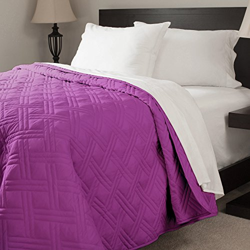 Lavish Home Solid Color Bed Quilt, Full/Queen, Purple (Quilt Queen Purple compare prices)