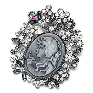 Pugster Vintage Antique Silver Tone Floral Oval Gray Beauty Cameo Leaf Clear Lady Maiden Profile Clear Swarovski Crystal Diamond Accent Brooches Pins