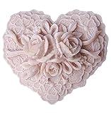 (World Zakka) 立体 バラ シリコン モールド 薔薇 手作り 石鹸 キャンドル (花・ハート型)