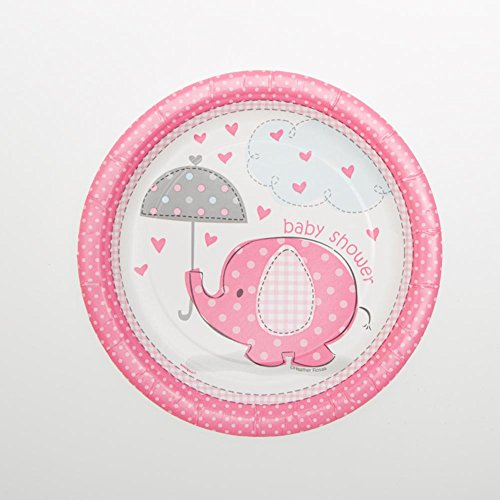 "Pink Elephant Baby Shower 7"" Plates"