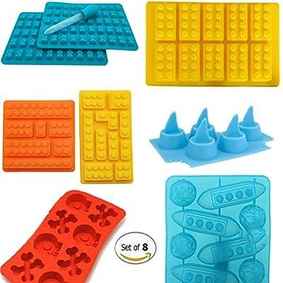 Silicone Baking Molds for Gummy Bear Lovers. Candy Chocolate Making Baking Mold, Silicone Gummy Building Block Bricks + Shark Fins + Skulls + Gummy Bears + Titanic