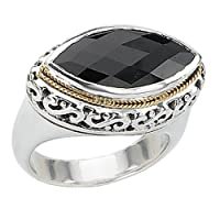 925 Silver & Faceted Onyx Marquise Ring with 18k Gold Accents- Sizes 6-8 by ELEMENT