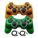 Molgegk Wireless Bluetooth Controller for PS3 Double Shock - Bundled USB Charge Cord (ClearOrange1 and CLearGreen) (Color: ClearOrange1 and CLearGreen)