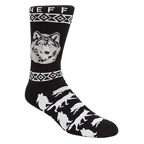 neff Men's Wolf Socks, Black, One Size