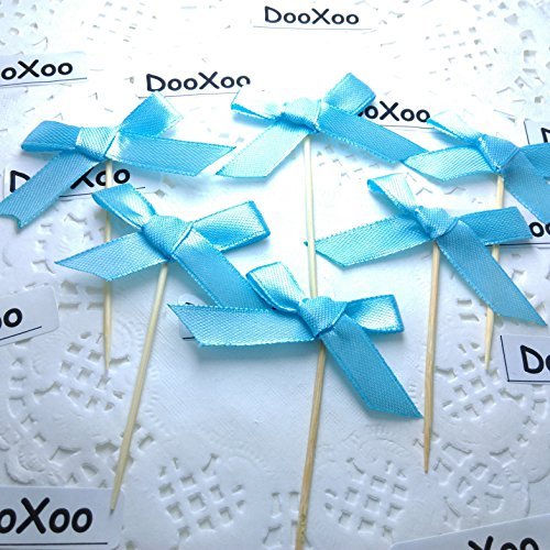 DOOXOO Baby Blue Grosgrain ribbon Bow Cupcake Toppers or Finger food picks - Weddings, Baby Shower & Birthday Party ( Set of 24 ) (Baby Food Picks compare prices)