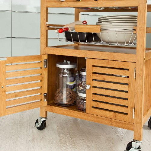 Sobuy carrello carrello di servizio carrello da cucina scaffale da cucina in bamb fkw09 n it - Scaffale cucina ...