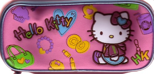 Hello Kitty Pink Canvas Pencil Case with drawing pencils & misc. novelties