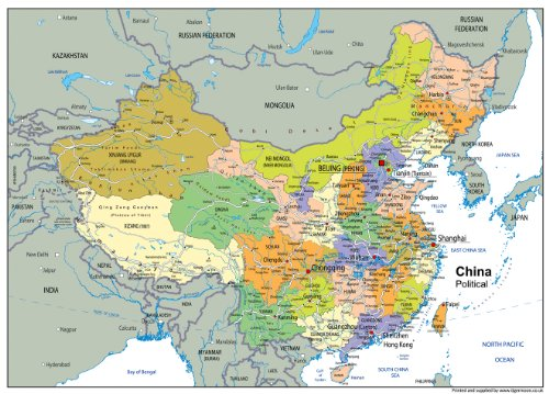 a1-paper-laminated-china-political-map-ga