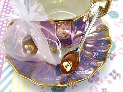 Gourmet Saffron Honey Spoons (12) Beverage Sweetener Bumble Bee Embellished On Petite Fine Silver Plastic Spoons