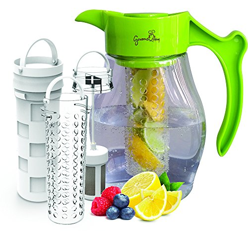 SPECIAL - Fruit & Tea Infusion Pitcher - FREE Beverage Infused Recipe Ebook - Water & tea infuser jug includes 3 infusers for fruit, tea and ice to enhance the flavor of water - Perfect for detox (Infusion Water Jug With compare prices)