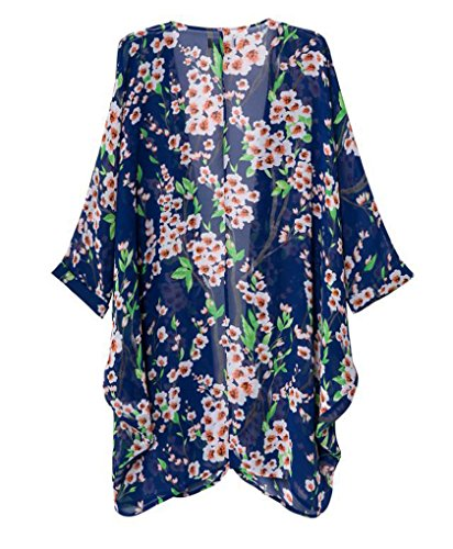 Olrain Women's Floral Print Sheer Chiffon Loose Kimono Cardigan Capes Blue Small