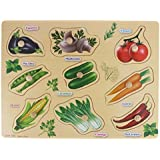 9 Vegetables Matching Puzzle Picture Board With Peg Knobs - (1c468) - Learning Educational Toys For Kids 18M+
