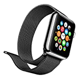Lumina Apple Watch Band with Magnetic Lock-Lumina Milanese Style Watch Loop Stainless Steel Bracelet Strap Band-No Buckle Required-Black