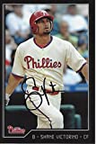 Shane Victorino Autographed - Hand Signed 2009 Philadelphia Phillies 4x6 inch Postcard Photo Card