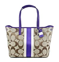 Coach Signature Stripe Hamptons Medium Tote Handbag 19999 Khaki Ultraviolet