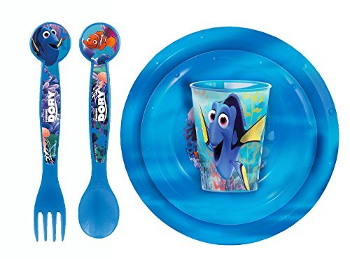 Finding Dory Bambini semolini 5pcs Set Piatti Tazza Ciotola con Cucchiaio e Forchetta Posate per bambini Dory