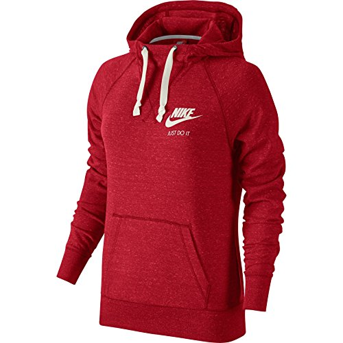 Nike Womens Gym Vintage Hoodie University Red/Sail 726059-657 Size X-Large