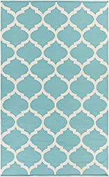 Teal Rug Modern Chic Design 3-Foot x 5-Foot Cotton Flat-Woven Trellis Dhurry