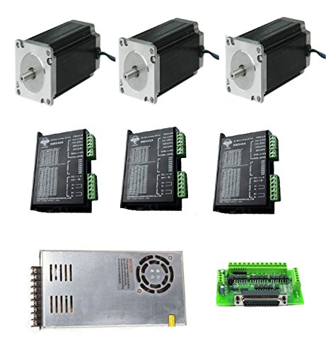 DC HOUSE 3 Axis NEMA 23 Stepper Motor 425oz-in, CNC Controller Kit, 23HS9430 Longs Motor (Stepper Motor Nema 23 Kit compare prices)