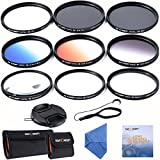 K&F Concept® 62mm Lens Filter Kit Slim UV Slim CPL Circular Polarizing Macro Close up +4 +10 Slim Graduated Color Orange Blue Grey Point Star 6 Filters For Sigma 18-200mm f/3.5-6.3 II DC 18-250mm 70-300mm 28-300mm 18-125mm Lens + Cleaning Pen + Cleaing Paper + Cleaning Cloth + Lens Cap + Cap Keeper + Filter Bag