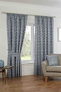 """Embroidered Leaf Duck Egg Blue Grey 46x90"""" 117x229cm Lined Pencil Pleat Curtains from Curtains"""