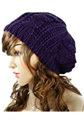 Smartele Winter Women Lady Baggy Beret Chunky Knit Knitted Braided Beanie Hat Ski Cap, Ten colors available (Purple)