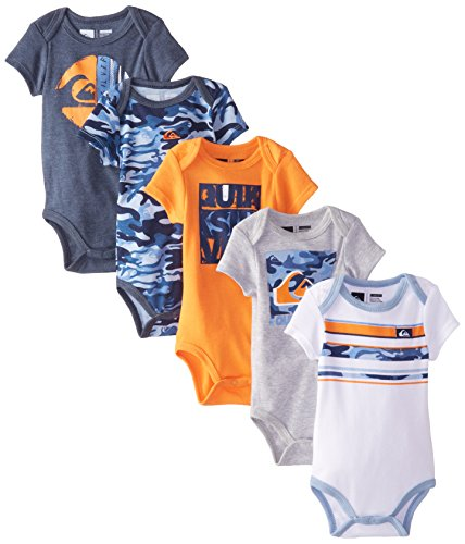 Quiksilver Baby-Boys Newborn 5 Pack Orange Gray Navy Bodysuit