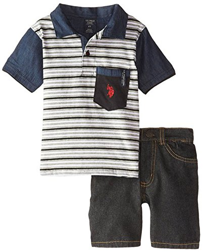 U.S. Polo Assn. Little Boys' Pocket Polo and Denim Short Set, Black, 4T