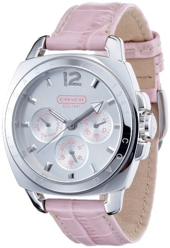 Coach Women's Watch Boyfriend Style 14501437 Chronograph Pink Leather Strap