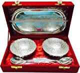 Silver Plated 2 Bowls & 2 Spoon Set With Decorative Tray