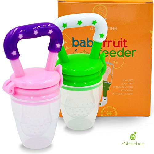 Baby Fruit Feeder Pacifier (2 Pack) - Fresh Food Nibbler, Infant Fruit Teething Toy, Silicone Pouches for Toddlers & Kids by Ashtonbee (Mesh Fruit Baby compare prices)